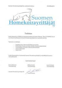 Suomen homekoirayrittäjät sertifikaatti